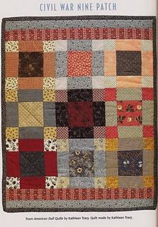 American Doll Quilts: Beautiful Civil War Era Quilt.  This brings the 9-patch to life! Love it.