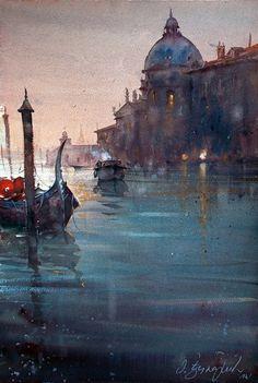 Dusand Jukaric , Santa Maria della Salute, Watercolor38x56 cm
