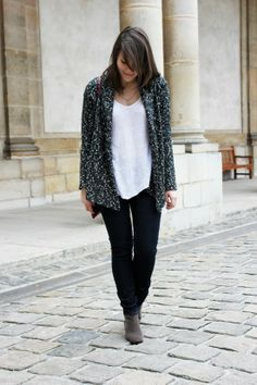 C B C M G - Promod chunky cardigan - Zara white tshirt - Levis blue jeans - Isabel Marant Dickers boots - Mango red cross body bag - Homemade necklace