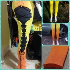 I was hoping to have Tracer done sooner, but at the same times I'm happy that she's coming along smoothly. Her leggings are almost complete, just need to finish painting the linework within t. Cosplay Sword, Cosplay Diy, Halloween Cosplay, Best Cosplay, Halloween Costumes, Game Costumes, Theatre Costumes, Cool Costumes, Cosplay Costumes