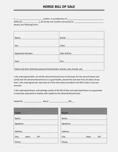 Free Printable Blank Bill of Sale Form Template - as is bill of ...