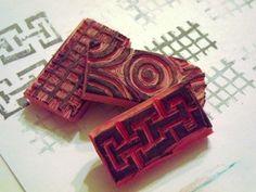 eraser stamp carving. flatter surface than cork