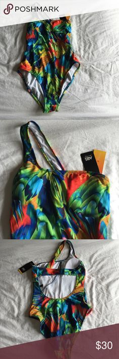 ABS Allen Schwartz NWT bathing suit one piece ABS Allen Schwartz for Macy's NWT one piece bathing suit! Vibrant colors with a one shoulder strap, key hole opening at bust, sits high on the thigh, opening on back. Beautiful tropical print! Smoke free pet free home! ABS Allen Schwartz Swim One Pieces