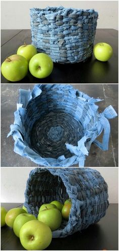 40 DENIM Upcycle projects- wreath rug bib basket bow n more - Weave a really awesome basket.