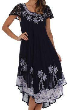 Sakkas Batik Palm Tree Cap Sleeve Caftan Dress / Cover Up Batik Dress, Caftan Dress, Women Sleeve, Trends, Dresses Uk, Casual Dresses, Comfortable Fashion, Casual Wear, Cap Sleeves