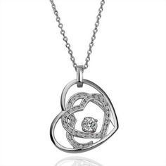 White Gold Plated Swarovski Elements Triplet Heart Necklace