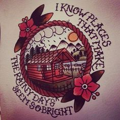 balance and composure tattoo. i know places that make the rainy days seem so bright.