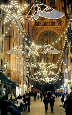 Christmas Lights in the center of Strasbourg, France. The market is wonderful.