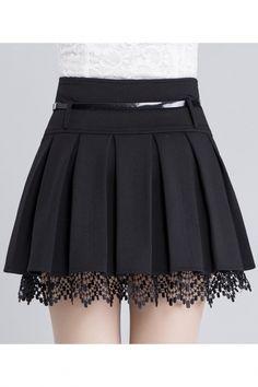 Women's Fashion Belt Waist Lace Trim A-Line Plain Pleated Mini Skirt Damenmode Gürtel Taille Lace Trim A-Line Plain Plissee Minirock – Fashion Belts, Girl Fashion, Fashion Dresses, Womens Fashion, Fashion Watches, Jeans Fashion, Fashion Fall, Fashion Fashion, Skirt Outfits