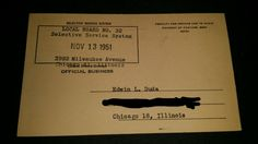Selective Service (Draft) card for my Dad. #SSS #DraftCard #Enlist #SelectiveService #DraftBoard #Military #USMC