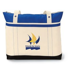 """- Colorful nautical design with grommet details  - Large main compartment with zippered closure  - Front pocket with Velcro closure  - 28"""" shoulder straps"""