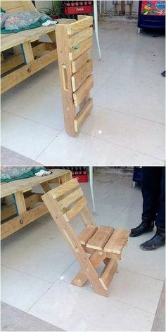 Lets lastly give a look at the pallet folding chair that is once again presented here for you in complete extraordinary variations This folding chair has been all set wit. Wood Pallet Recycling, Pallet Crafts, Recycled Pallets, Diy Pallet Projects, Wooden Pallets, Pallet Ideas, Wood Crafts, Wood Projects, Recycled Crafts