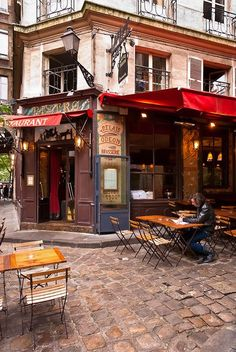Quaint restaurant in Paris, France. Of couse many restaurants like this would be near my Paris apartment. Montmartre Paris, Paris Paris, Paris Street, Paris Travel, France Travel, Paris France, France Cafe, Brasserie Paris, Places Around The World