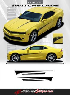 Vehicle Specific Style Chevy Camaro Switchblade Hood Spears and Door Spears Vinyl Decal Graphics Year Fitment 2010 - 2015 : All Models Contents Driver and Passe