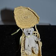 Artist Miniature Teddy Bear Signed Jointed In Pram Sweet!! Dollhouse
