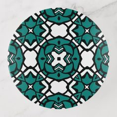 Black White Teal Green Oriental Mosaic Pattern Trinket Trays - black and white gifts unique special b&w style