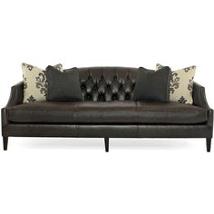 Juliet Hollywood Regency Mocha Wood Black Leather Tufted Sofa ($3,961) ❤ liked on Polyvore featuring home, furniture, sofas, leather couch, black sofa, tufted sofa, wooden couch and tufted leather couch
