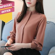 New 2018 spring Women Blouses shirt Long Sleeve Fashion Casual women& clothing solid Chiffon Clothes women Tops blusas 30 Chiffon Blouses, Shirt Blouses, Women's Shirts, Clothes Stand, Formal Shirts, Blouse Styles, Stylish Outfits, Classy Outfits, Work Outfits