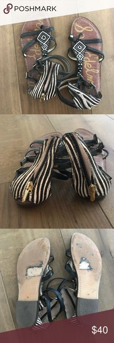 sam edelman gladiator sandals like brand new condition! i have gotten so many compliments on these! they're so cute but not my size! the zebra on the back is a show stopper! only wore them once! Sam Edelman Shoes Sandals