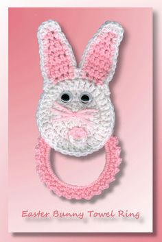 Easter Bunny Towel Ring by Crochet Memories Holiday Crochet, Crochet Home, Crochet Gifts, Crochet Yarn, Free Crochet, Crochet Towel Holders, Crochet Towel Topper, Easter Crochet Patterns, Crochet Stitches Patterns