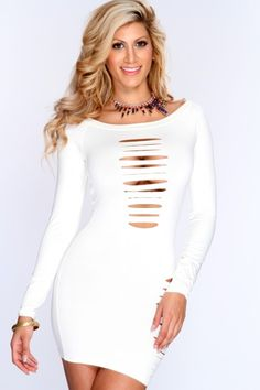 Ivory Razor Cut Long Sleeves Sexy Clubwear Dress Dresses For Teens, Sexy Dresses, Dress Outfits, Nice Dresses, Sexy Party Dress, Party Wear, Party Dresses, Buxom Beauties, Clubwear Dresses