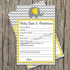 Baby Stats and Predictions Yellow Grey Chevron Baby Shower Game by BumpAndBeyondDesigns, $5.00