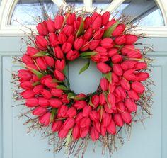 Spring Wreath Spring Tulip Wreath Tulip Door by countryprim