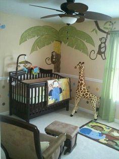 Jungle theme nursery for a boy.