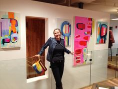 Claire Desjardins- Standing in front of my paintings, displayed at the new Anthropologie store, in Montreal. Impressionist Art, Collage, Acrylic Art, Face Art, Abstract Art, Abstract Paintings, Art Studios, Installation Art, Painting Inspiration
