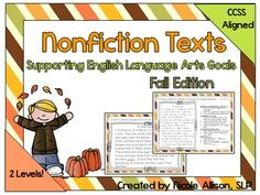 Perfect for groups with varying needs! Makes differentiated instruction easy! This product contains 15 nonfiction texts (written by me) with a fall theme to target multiple areas of Common Core. Contains 65 pages, absolutely perfect for small language groups or centers!Each passage is written two ways:*Level 1 for lower grades (K-3)*Level 2 for higher grades (4-8)Each passage contains*One student copy (for reference)*One educator copy (with passage and questions)During centers or small ...