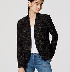A sleek fit and collarless cut make the forever-polished tweed blazer feel especially fresh and modern. Collarless lapels. Hook-and-eye front.…