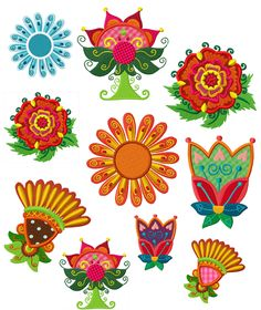 """Alle Blumen können komplett mit dem kleinen Rahmen gestickt werden.      Passend zu dieser Serie gibt es noch die Blumenkinderserie """"Florierende Frolleins""""."""