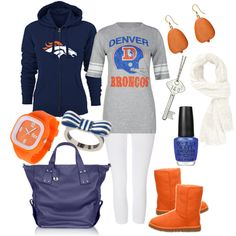 A fashion look from March 2012 featuring denver broncos hoodie, raglan t shirt and white cotton pants. Browse and shop related looks. Denver Broncos Gear, Go Broncos, Broncos Fans, Denver Football, Broncos Apparel, Super Bowl, Nfl, Peyton Manning, Football Season