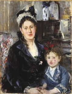 """Portrait of Mme Boursier and Her Daughter"" by Berthe Morisot.  c1873, oil on canvas. In the collection of The Brooklyn Museum of  Art, NY."