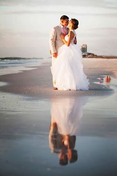 Clearwater Beach, Waterfront Bride and Groom Wedding Portrait with Reflection | Clearwater Beach Wedding Photographer Limelight Photography