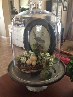 We just got in these awesome galvanized stands, more cloches, nests and spring florals! Country Decor, Farmhouse Decor, Cloche Decor, The Bell Jar, Bell Jars, Deco Boheme, Centerpieces, Table Decorations, Apothecary Jars