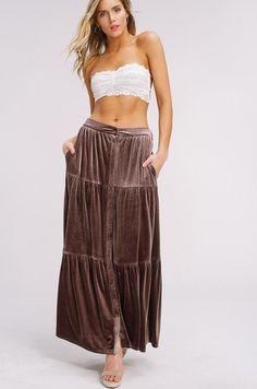 498d4f532bdfd9 Velvet Ruffled Tiered Vintage Peasant Maxi Skirt - Mocha