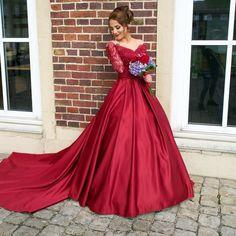 Satin Prom Dresses,A-line Prom Dress,Long Sleeve Prom Dress,Gorgeous Prom Dress,Custom Prom Dress,PD0032
