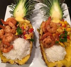 Shrimp and pineapple boat with mango pineapple salsa and rice. (Found on Facebook)
