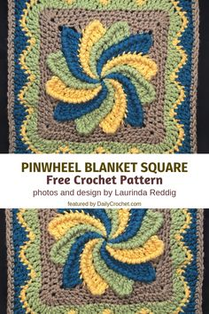 Crochet stitches tutorial - Fun And Colorful Pinwheel Blanket Square Free Crochet Pattern – Crochet stitches tutorial Granny Square Crochet Pattern, Crochet Blocks, Afghan Crochet Patterns, Crochet Squares, Crochet Granny, Crochet Motif, Crochet Stitches, Crochet Baby, Knitting Patterns