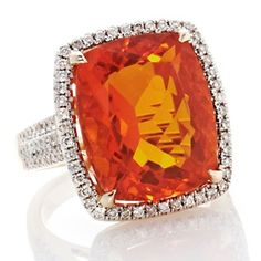 Rarities 11.06ct Fire Opal and Diamond 14K Yellow Gold Ring - Beautiful :)