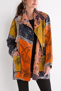 / orange, black and gold / kantha pocket jacket / by mieko mintz / artful home / Modest Fashion, Fashion Outfits, Womens Fashion, Fashion Trends, Trending Fashion, Quilted Clothes, Creation Couture, Look Fashion, Creations