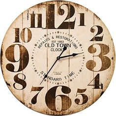 Round Off White Decorative Wall Clock With Big Numbers And Distressed Old Town face 23 x 23 inches Quartz movement  #Clock #Decorative #Distressed #Face #Inches #Movement #Numbers #Quartz #Round #RusticWallClock #Town #Wall #White The Rustic Clock