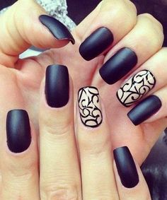 Dark Matte Nail Design with Swirl Details.
