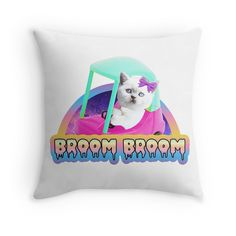 Kitty is in me mum's car...Broom Broom. Vine themed throw pillow #cute #pastel #goth