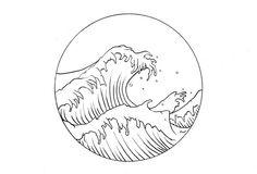 Ocean waves tattoo drawing idea