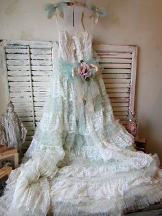 Faded mint and white tulle Lace dress wall hanging 1950 prom dress shabby cottage chic embellished romantic wall decor anita spero design Different Dresses, Unique Dresses, Beautiful Dresses, Making A Wedding Dress, Dream Wedding Dresses, Wedding Gowns, White Tulle, Tulle Lace, Lace Dress