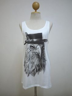 Captain Eagle : Smart Hawk Bird Animal Style Art Fashion Women T-shirt Animal  Tank White T-Shirt Screen Print