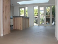 Concrete Overlay, House Extensions, Home Kitchens, Family Room, New Homes, Sweet Home, Windows, Flooring, Living Room