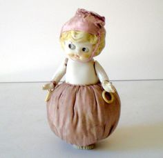 Large Unusual Bisque Doll Pin Cushion from californiagirls on Ruby Lane